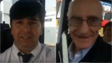 El chófer de autobús y Cachito en el momento que recibe la sorpresa
