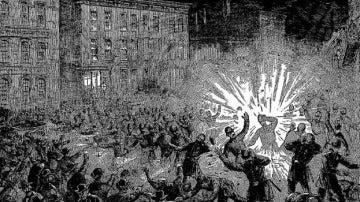 Grabado de la explosión en la revuelta de Haymarke