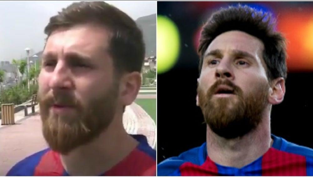 El doble de Leo Messi y Leo Messi