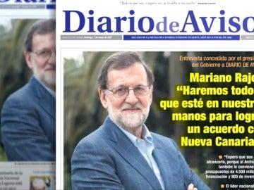 Portada de Diario de Avisos en la que aparece Mariano Rajoy