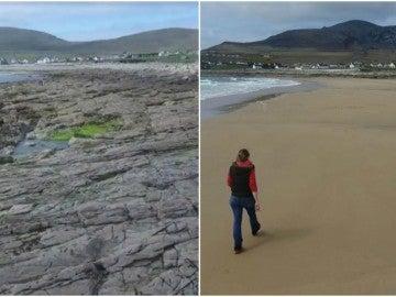 El antes y el después de la playa de la isla de Achill, en Irlanda