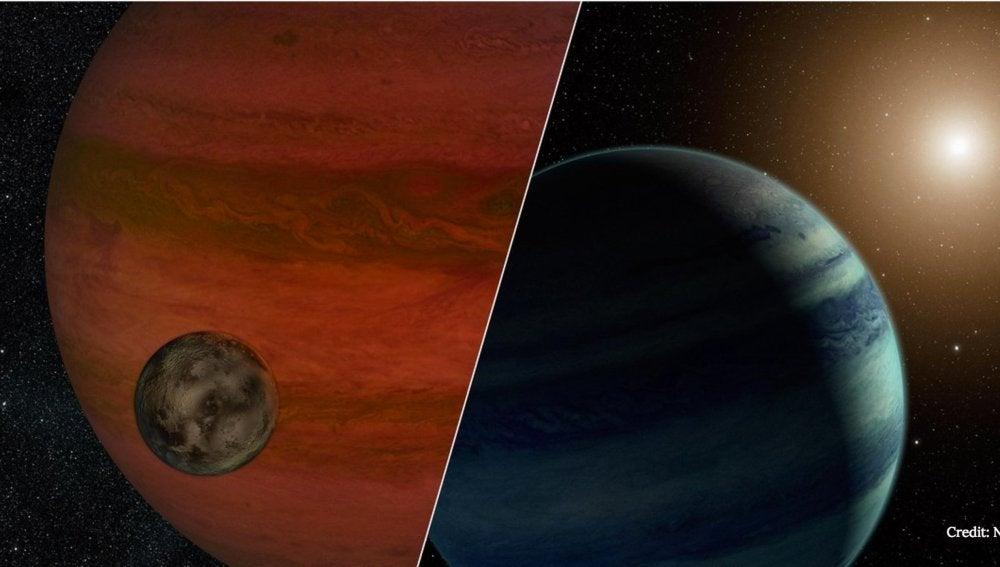 Aspecto de una exoluna orbitando un exoplaneta gigante gaseoso