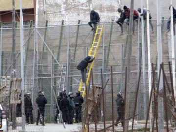 Un grupo numeroso de inmigrantes logra saltar la valla fronteriza en Melilla
