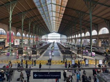 Vista general de la Estación del Norte, en París, Francia
