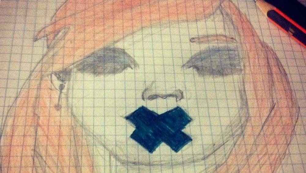 Dibujo de una chica con la boca tapada