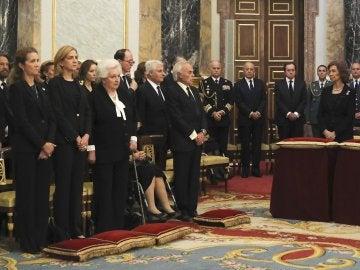 La familia real en el funeral de la infanta Alicia de Borbón-Parma