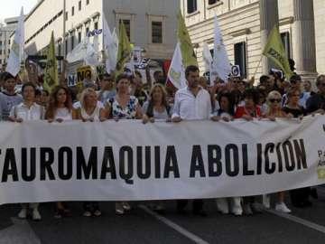 Manifestación contra la tauromaquia convocada por PACMA