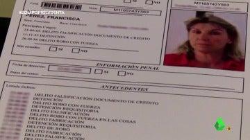 Frame 38.407247 de: Robos con fuerza, falsificaciones, delitos de guante blanco… el historial delictivo de la 'Presidenta' Francisca