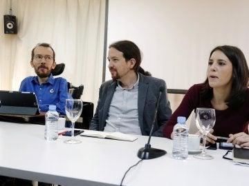 Los líderes de Podemos, Pablo Iglesias, Pablo Echenique e Irene Montero