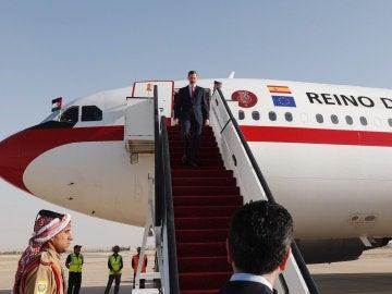 El rey Felipe VI a su llegada a Ammán