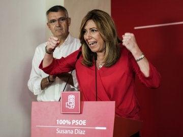 La presidenta de la Junta de Andalucía, Susana Díaz, y candidata a la secretaría general del PSOE