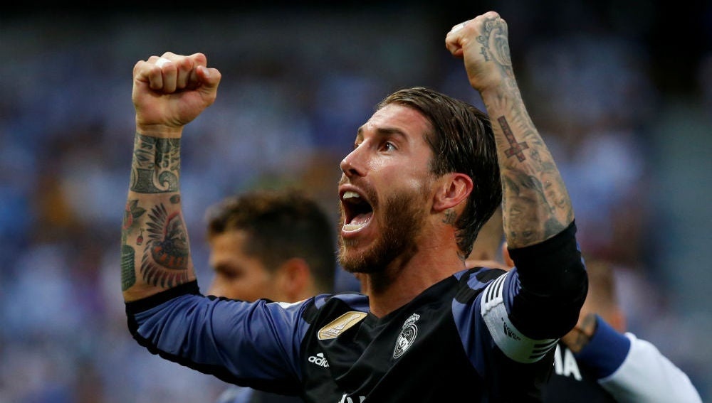 Sergio Ramos celebra la victoria del Real Madrid