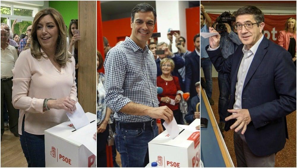 Los tres candidatos a la Secretaría general del PSOE votan en las primarias