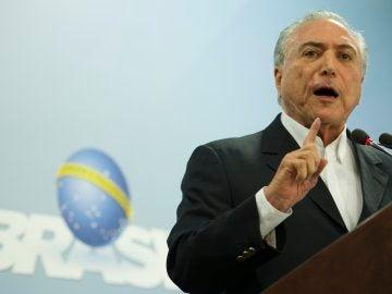 El presidente de Brasil, Michel Temer, pronunciando el discurso