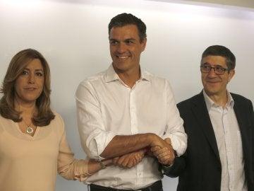 Pedro Sánchez, Patxi López y Susana Díaz