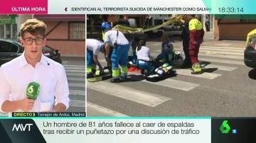 Frame 30.710952 de: Un hombre de 81 años fallece al caer de espaldas tras recibir un puñetazo por una discusión de tráfico en Madrid