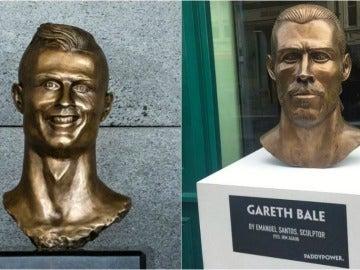 El busto de Cristiano (izquierda) y el nuevo busto de Bale (derecha)