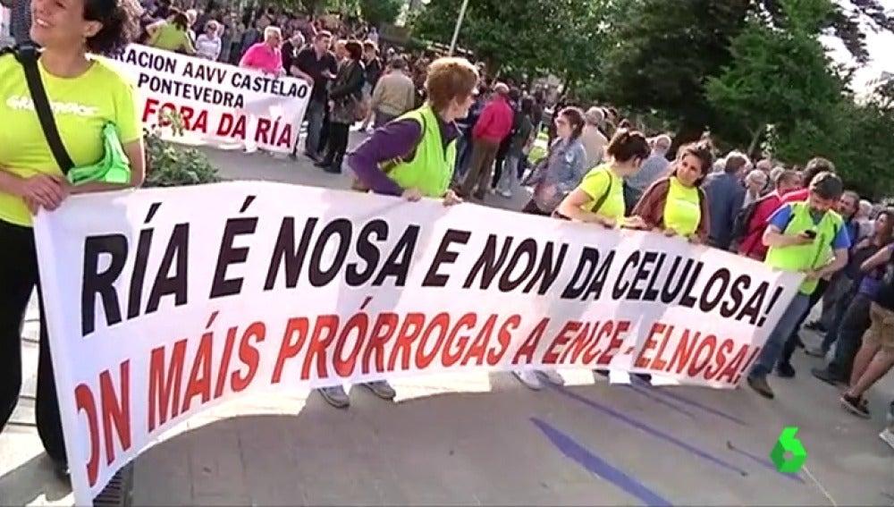 Manifestantes en la marcha anual contra la celulosa