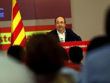 Miquel Iceta durante su intervención en la reunión de la delegación del PSC