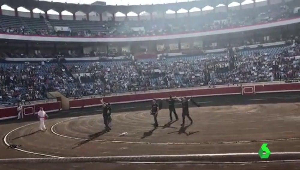 Frame 1.625138 de: Protesta antitaurina en la plaza de toros de Bilbao