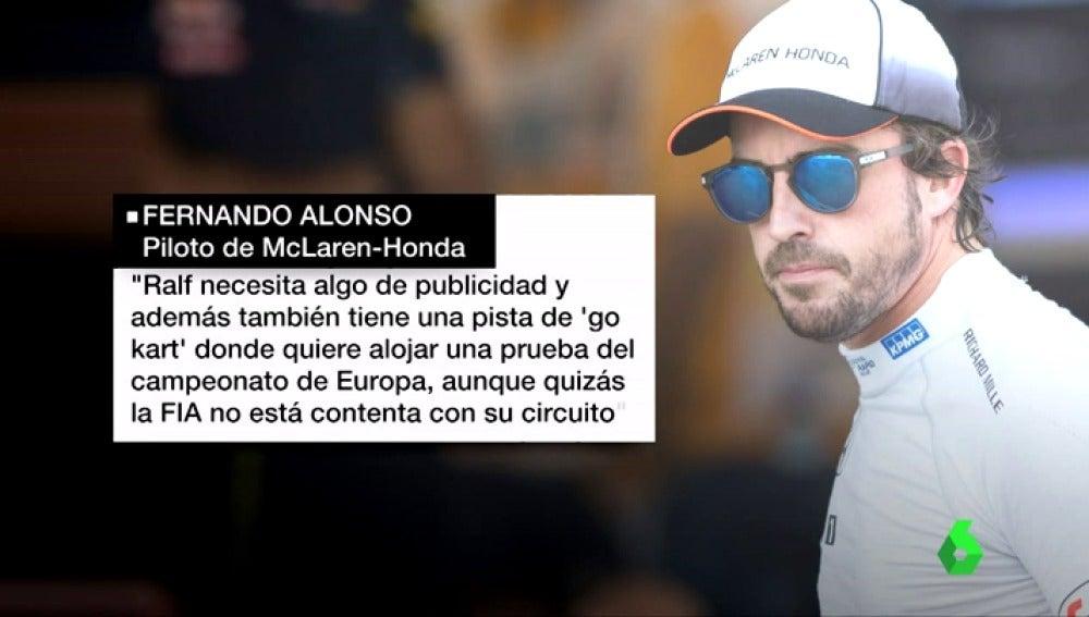 """Frame 41.493248 de: Fernando Alonso obliga a rectificar a Ralf Schumacher con una dura respuesta: """"Necesita publicidad"""""""