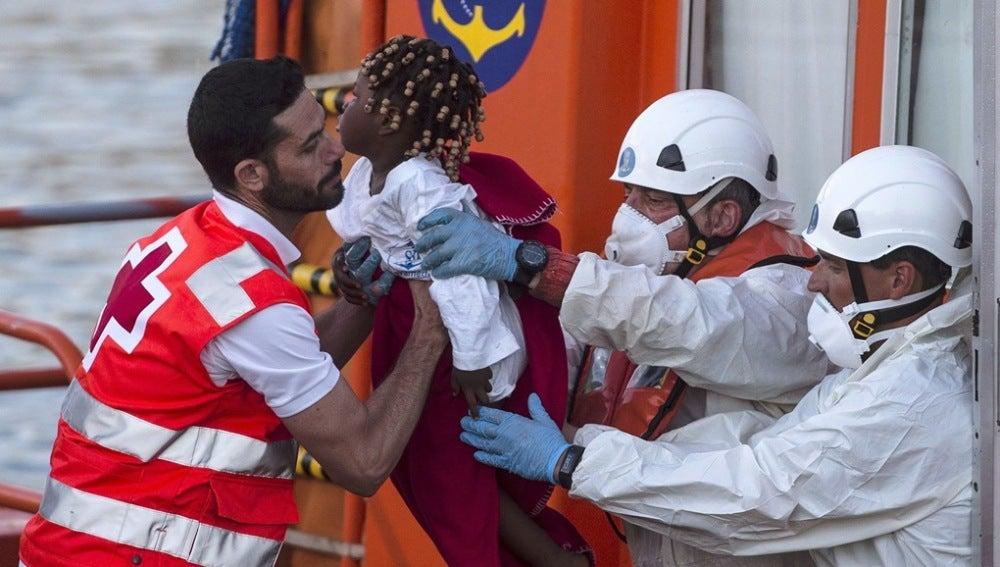 Imagen de archivo del rescate de un menor migrante