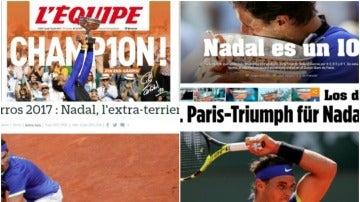 Las portadas de los medios tras el Roland Garros de Nadal