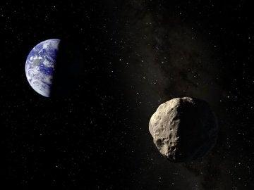 Representación artística de Apophis a punto de iniciar el sobrevuelo a la Tierra