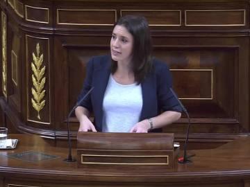Irene Montero en el debate sobre la moción de censura contra Rajoy