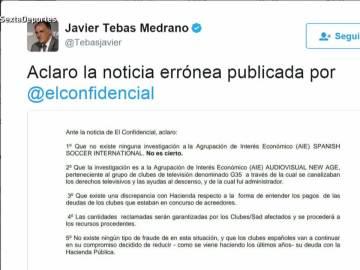 Aclaración de Javier Tebas a noticia de El Confidencial