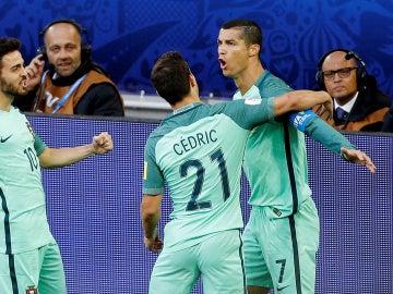 Cristiano Ronaldo celebra su gol, el 0-1 de Portugal ante Rusia