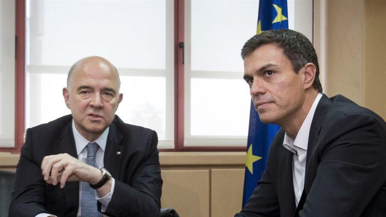 Pedro Sánchez y Pierre Moscovici