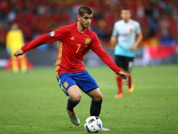 Morata, en un partido con la selección española