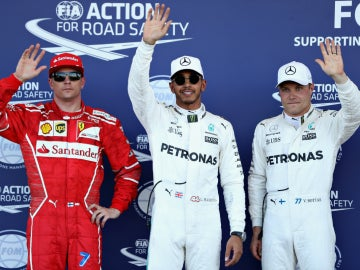 Raikkonen, Hamilton y Bottas