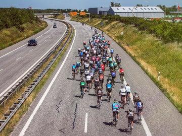 Pelotón ciclista en la carretera