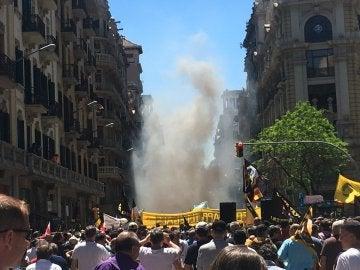 Los taxistas salen a la calle para protestar contra Uber y Cabify en Barcelona
