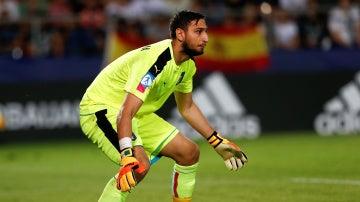Donnarumma, durante el partido contra España del Europeo sub 21
