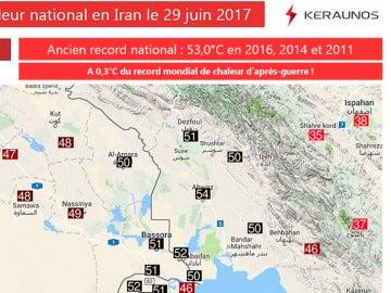 Mapa del tiempo en Irán que registra los 54 grados en Ahvaz