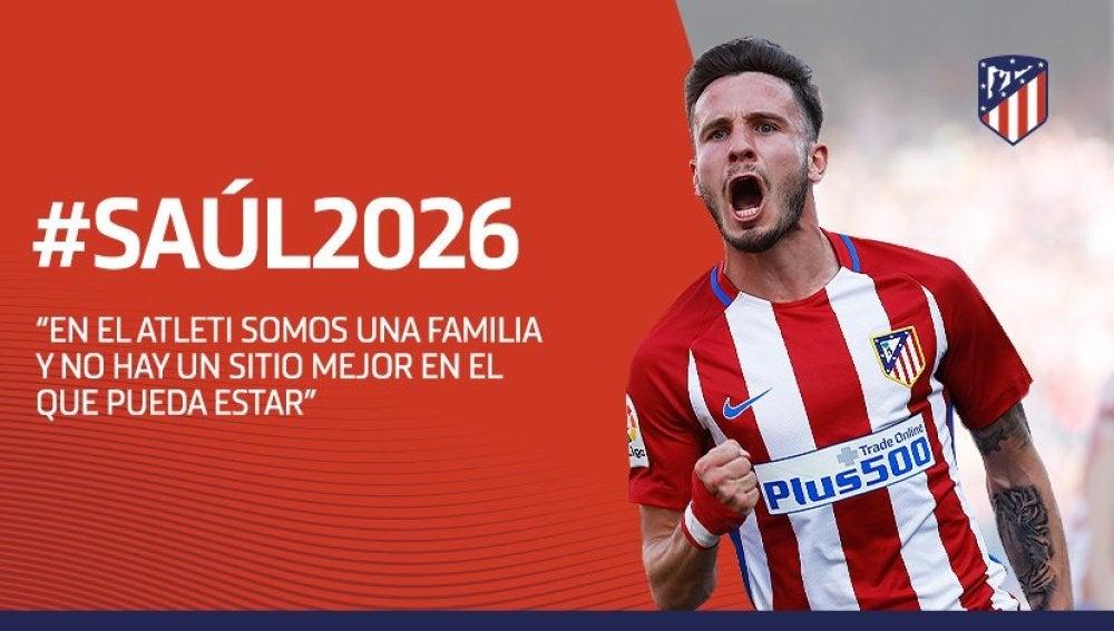 Saúl renueva con el Atlético