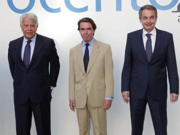Los expresidentes del Gobierno Felipe González, José María Aznar y José Luis Rodríguez Zapatero