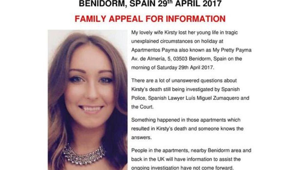 Cartel de la familia de Kirsty para encontrar más datos sobre su muerte