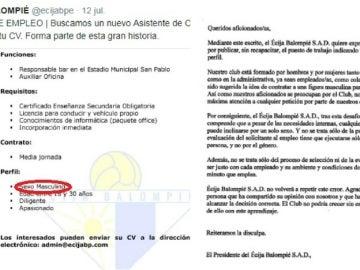La polémica oferta de empleo del Écija Balompié