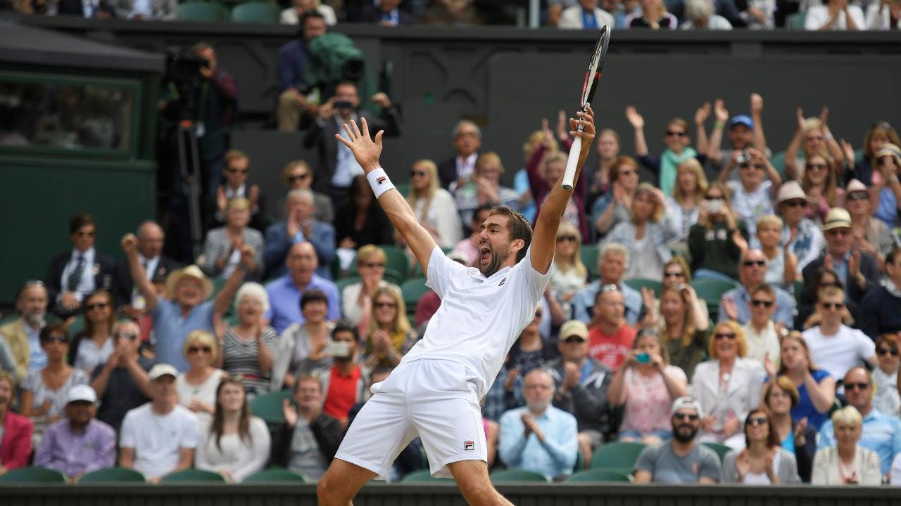 Cilic celebra su pase a la final de Wimbledon