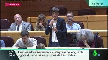 Pilar Lima interviniendo en el Senado