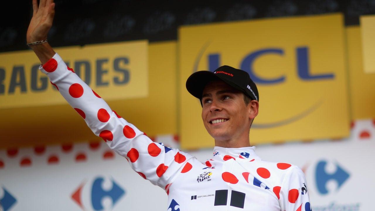 Warren Barguil, en el podio tras una etapa del Tour