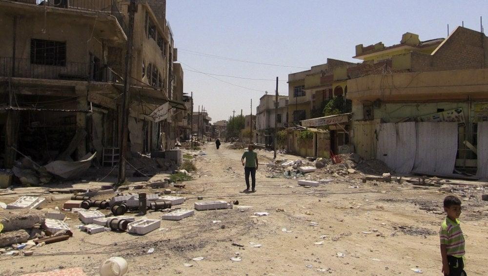 Fotografía de la calle Al Nabi Sheet, en el oeste de Mosul