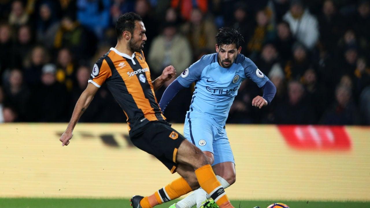 Nolito jugando con el Manchester City