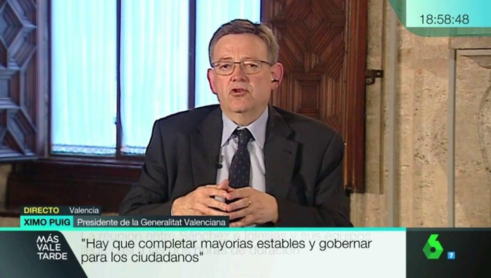 """Ximo Puig: """"Jamás hablé de líneas rojas con Podemos, nunca las tuve"""""""