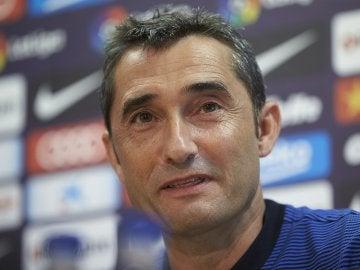 El técnico Ernesto Valverde en rueda de prensa