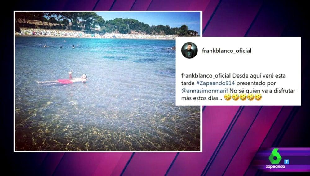 Frank Blanco desvela cómo verá el primer Zapeando del verano presentado por Anna Simon